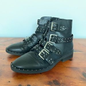 Studded Biker Faux Leather Ankle Boots